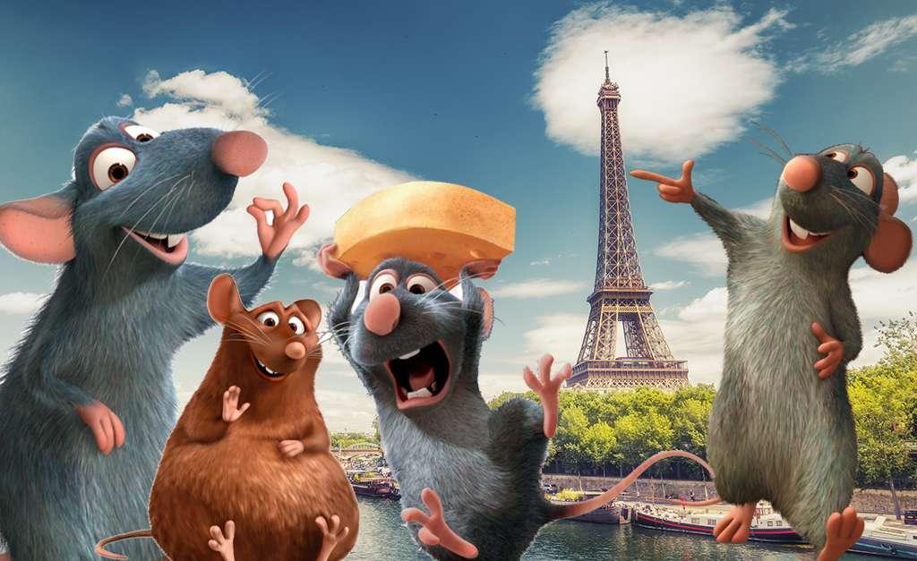Ratos em paris torre Eiffel