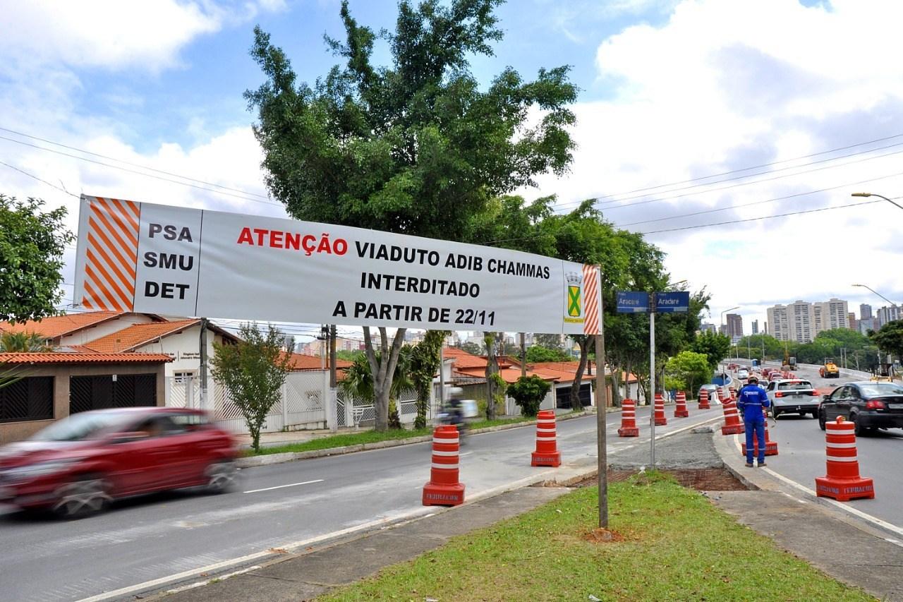 Santo André interdita alça de acesso do viaduto Adib Chammas por duas semanas